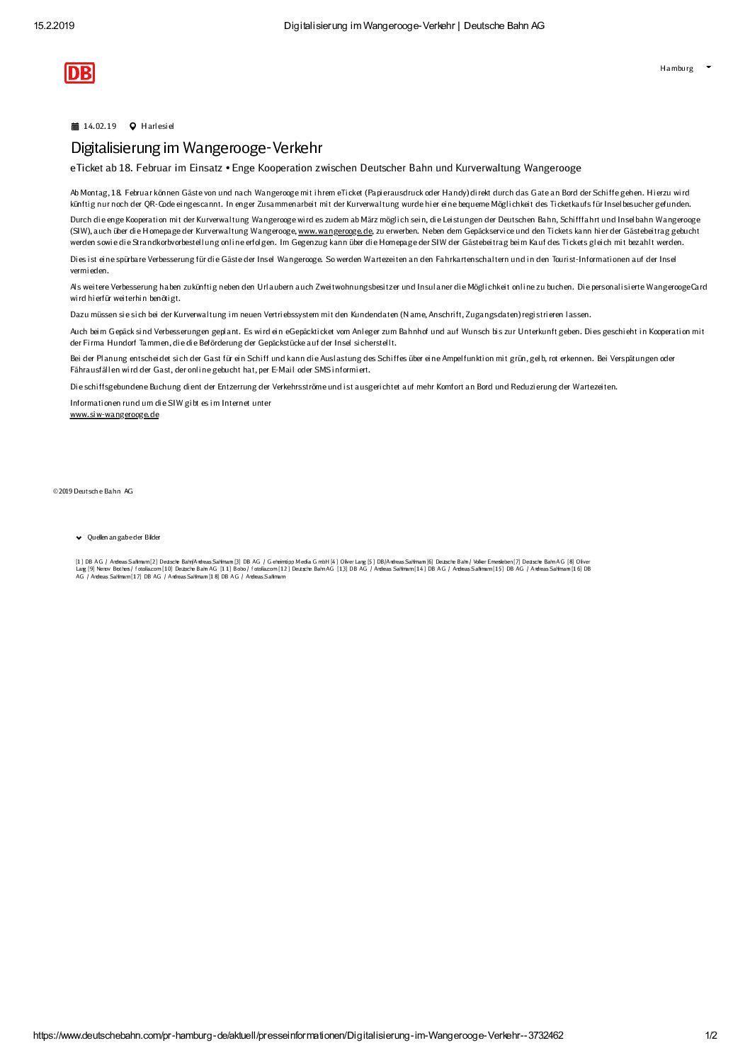 DB/SIW: Ab 18.02.2019 Digitalisierung im Wangeroogeverkehr