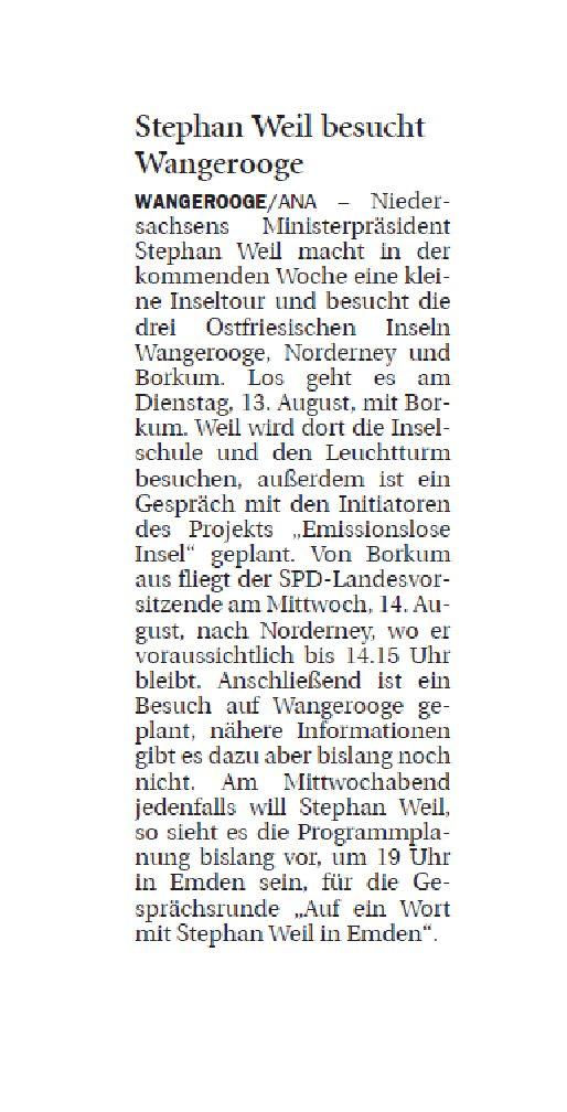 Jeversches Wochenblatt 08.08.2019