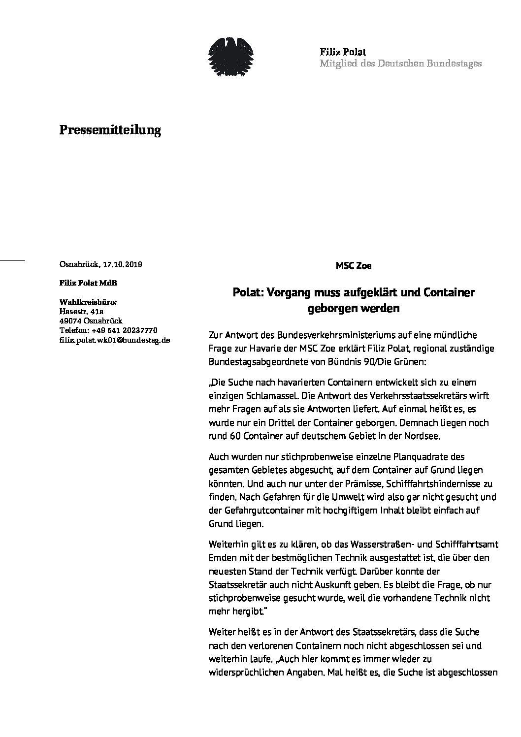 MSC Zoe    Filiz Polat (MdB/Bündnis90/Die Grünen): Vorgang muss aufgeklärt und Container geborgen werden