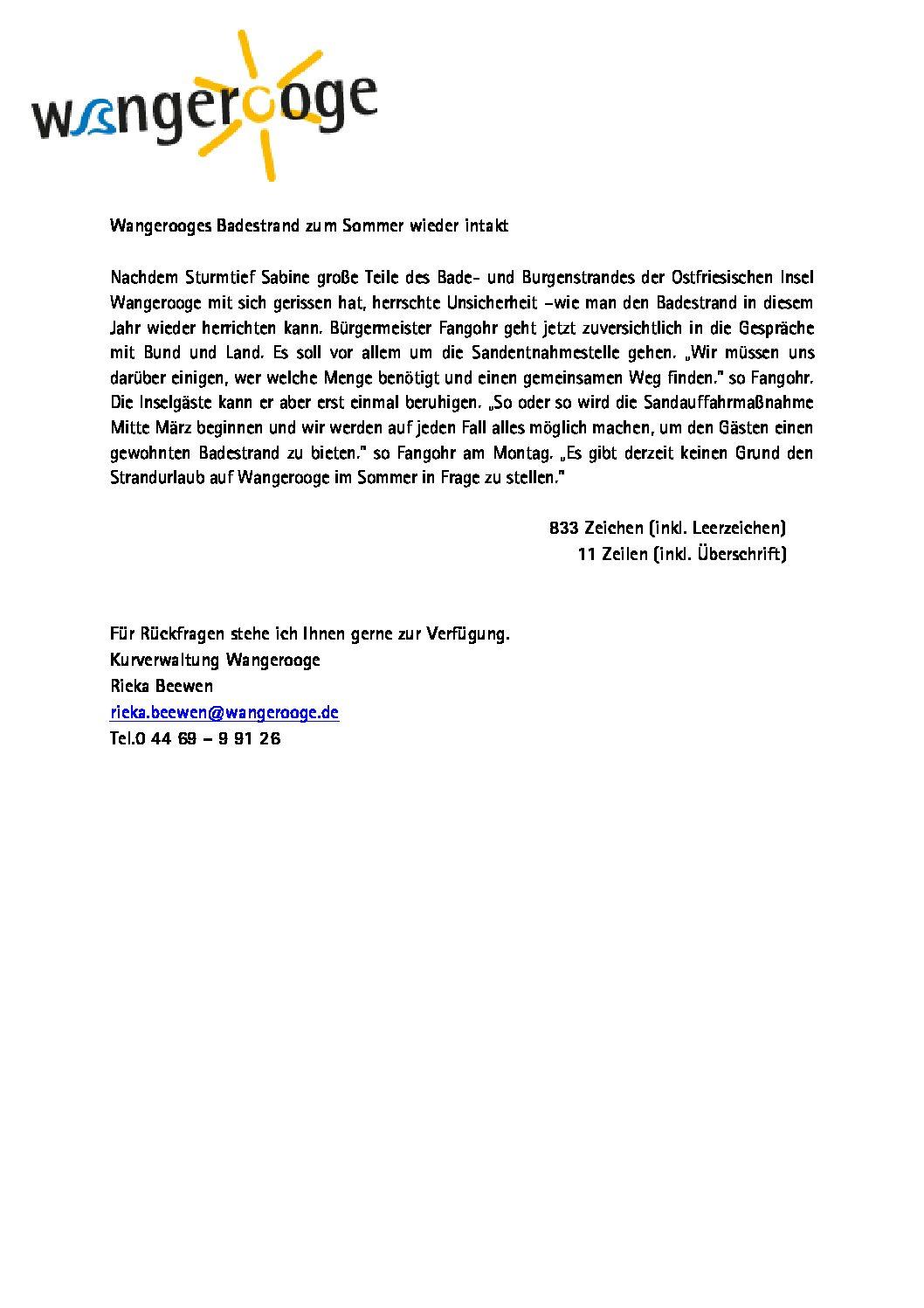 Pressemitteilung der Gemeinde- und Kurverwaltung Wangerooge zur Situation am Bade- und Burgenstrand nach dem Sturmtief Sabine