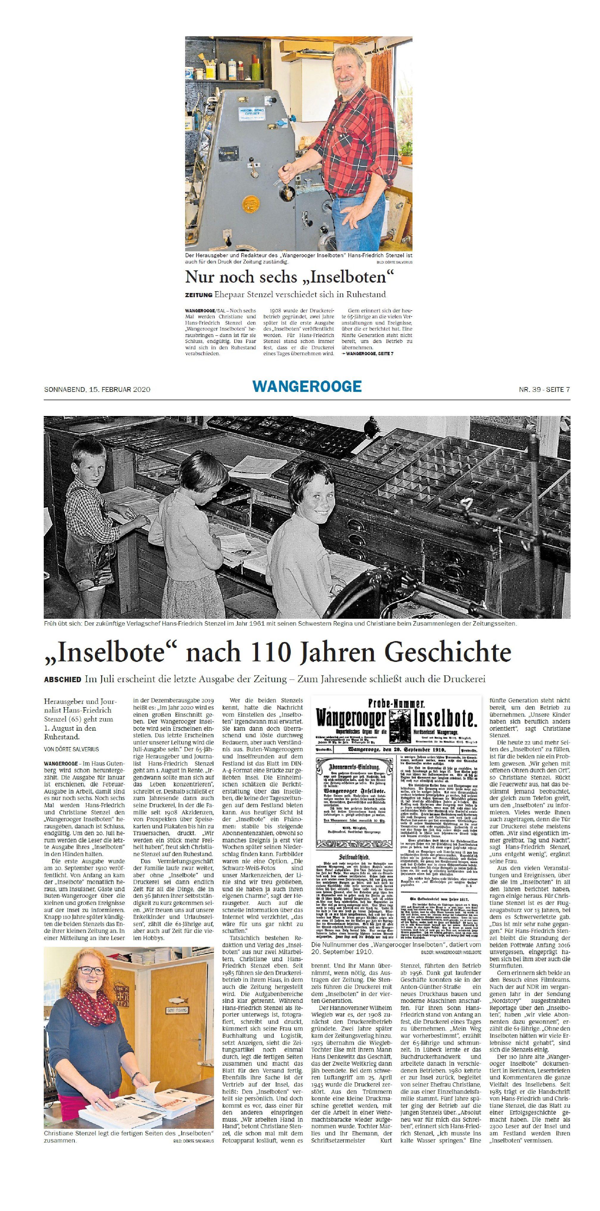 Jeversches Wochenblatt 15.02.2020