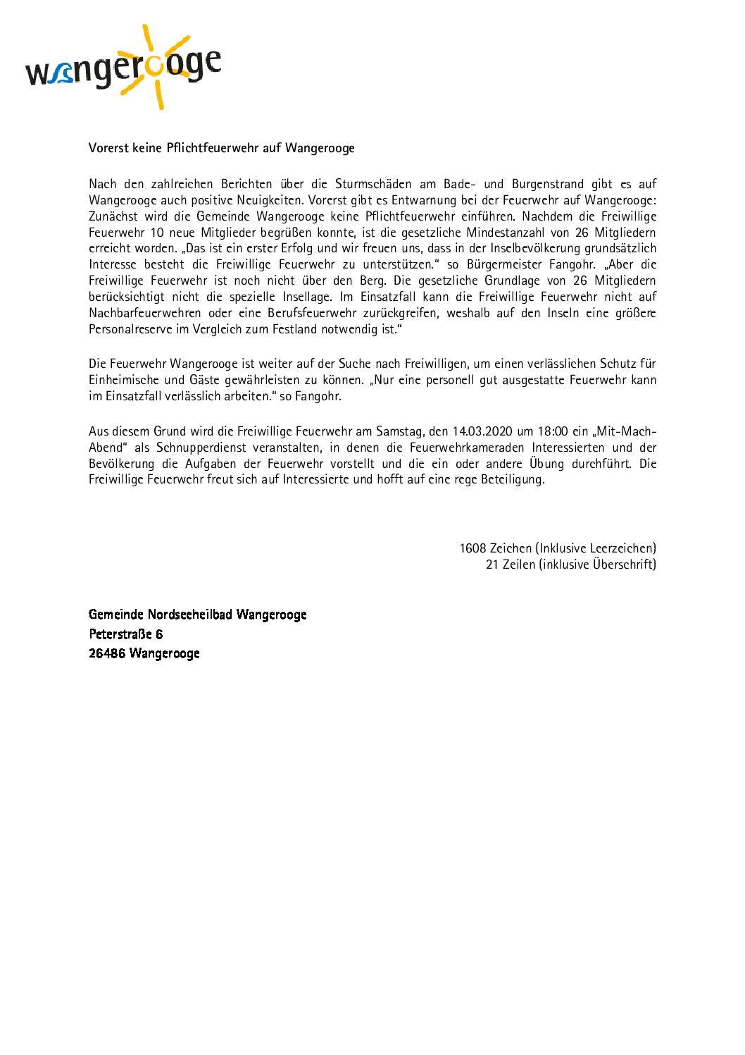Vorerst wird auf Wangerooge keine Pflichtfeuerwehr eingeführt
