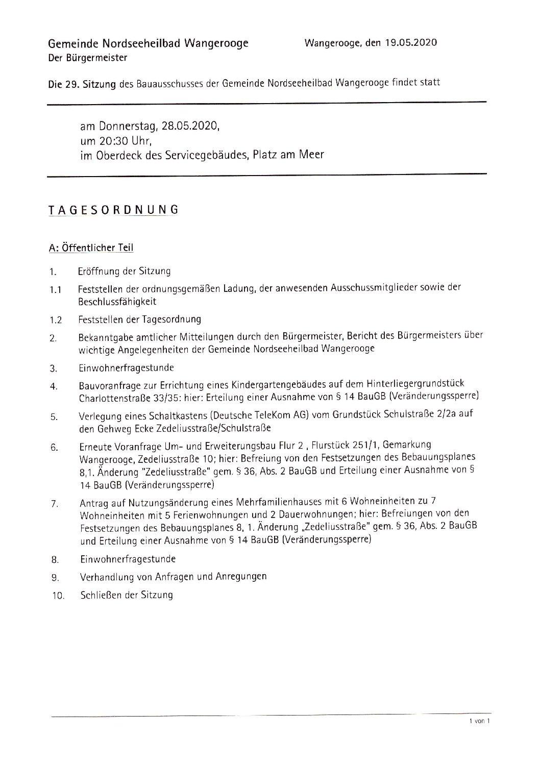 Einladung Bauausschuss Do.28.05.2020, 20.30 Uhr