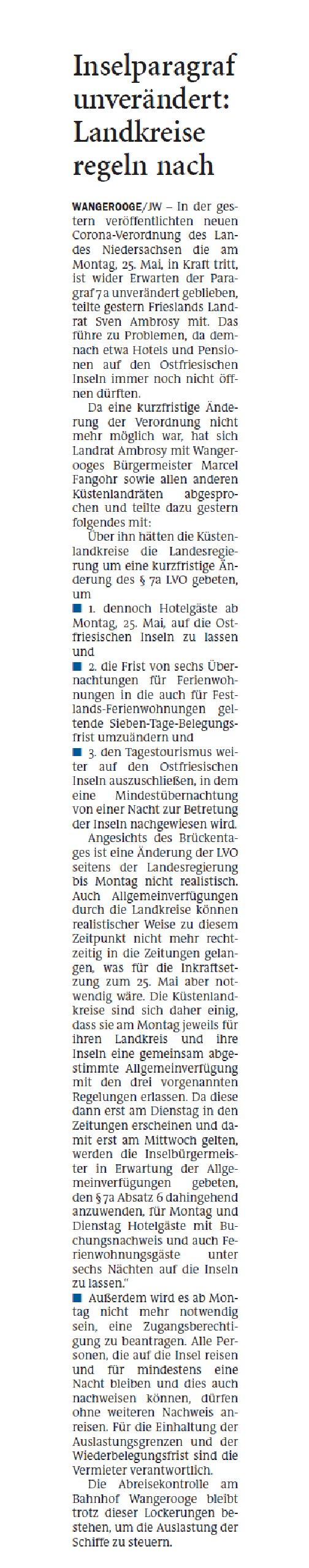 Jeversches Wochenblatt 23.05.2020 II