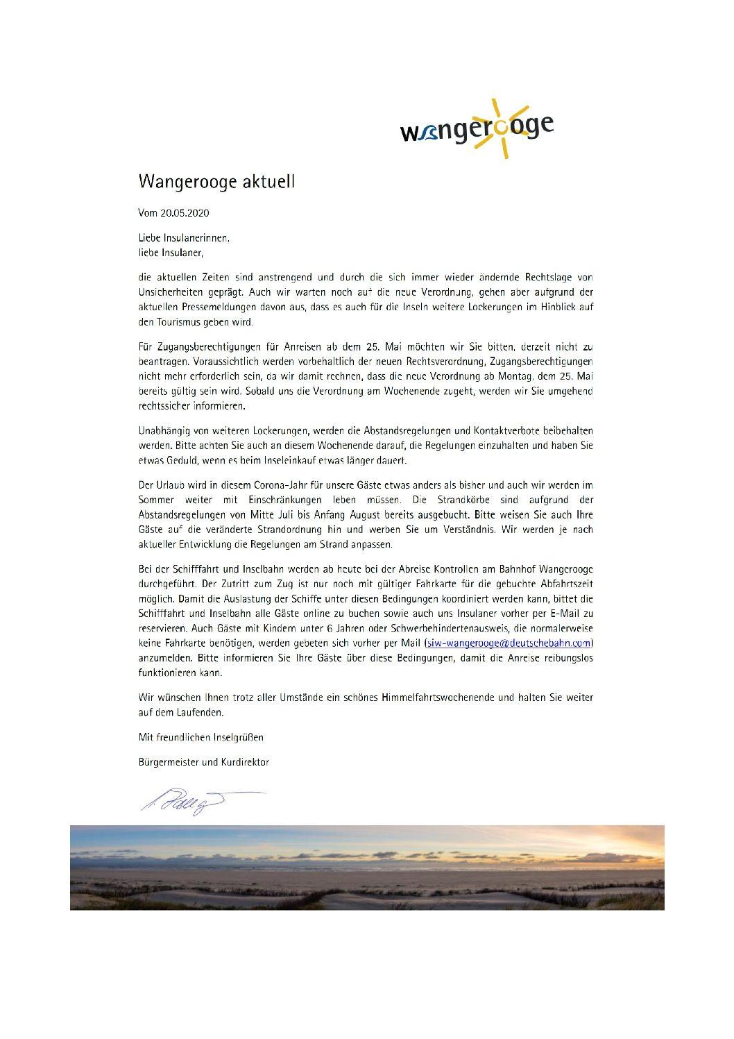 Wangerooge Aktuell der Kurverwaltung vom 20.05.2020