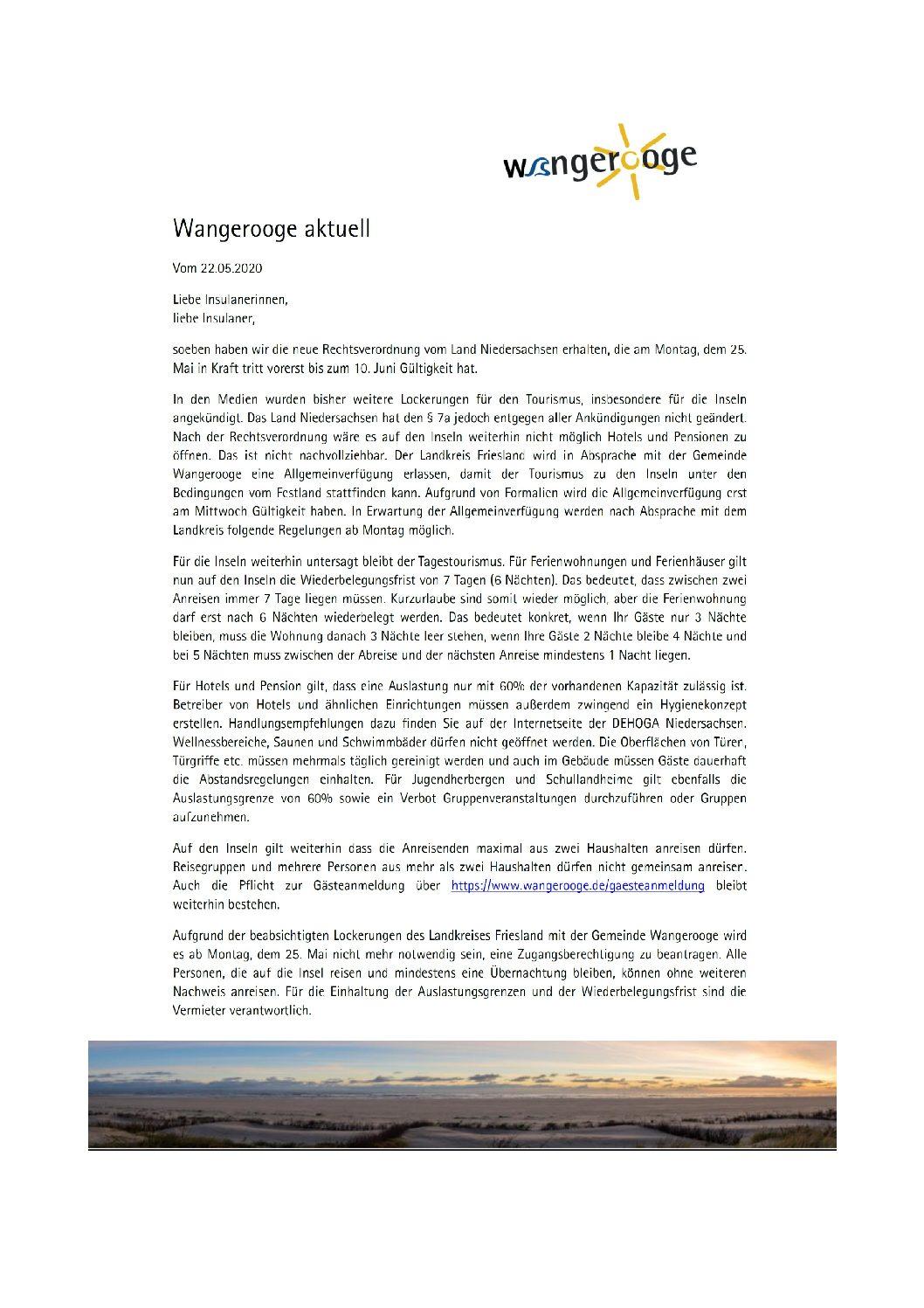 Wangerooge Aktuell der Kurverwaltung neue Rechtsverordnung vom Land Niedersachsen