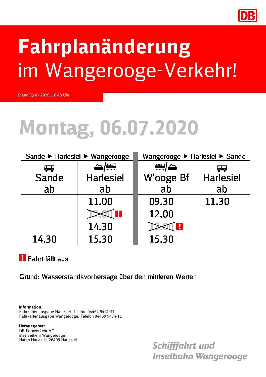 DB/SIW Fahrplanändrung 06.07.2020