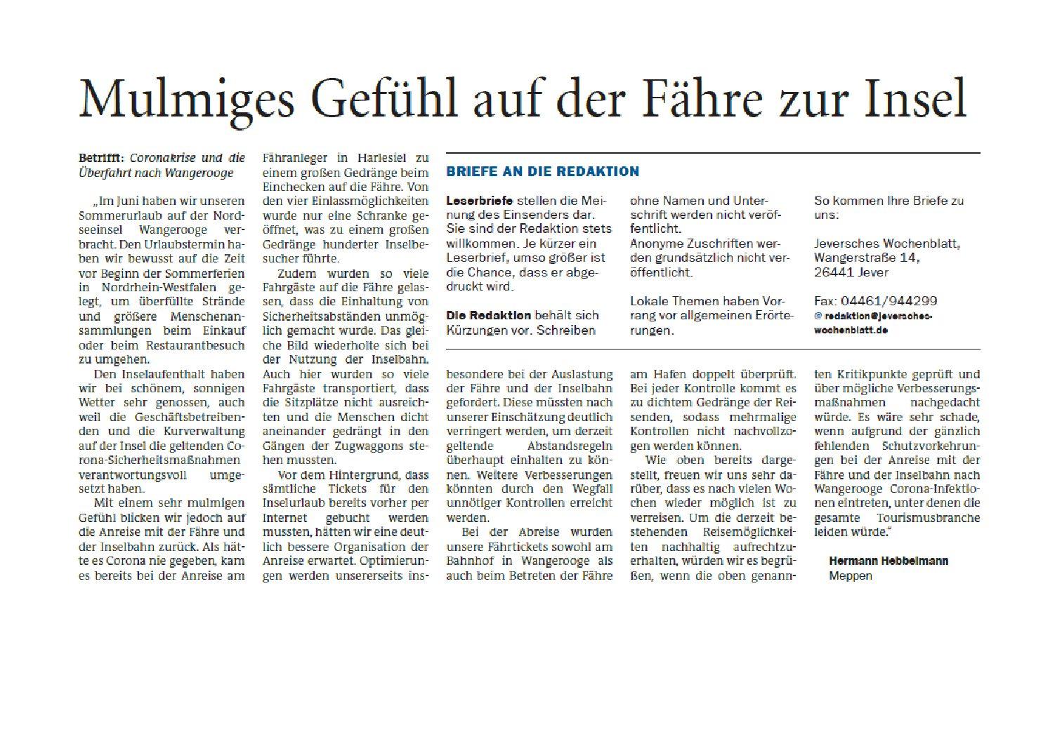 Jeversches Wochenblatt 07.07.2020