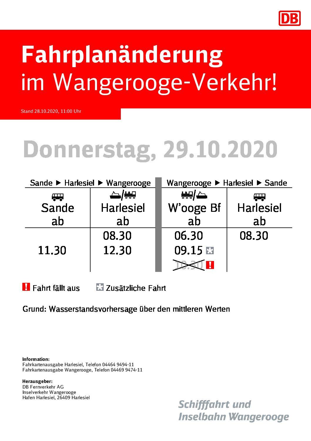DB/SIW Fahrplanänderung 29.10.2020