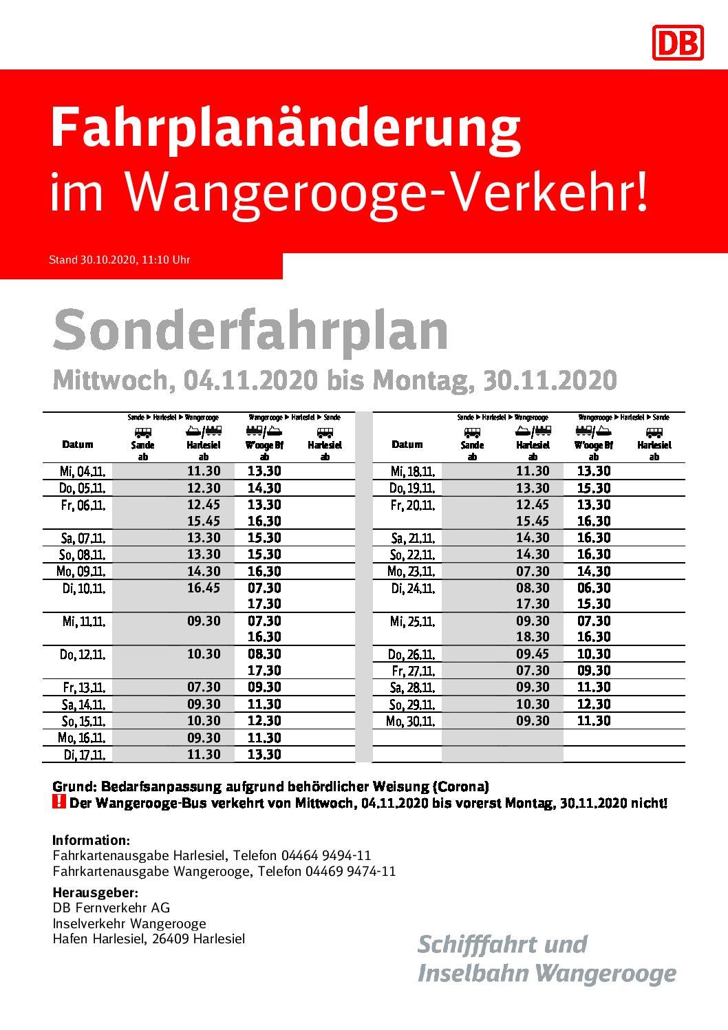 DB/SIW Fahrplanänderung 04.-30.11.2020
