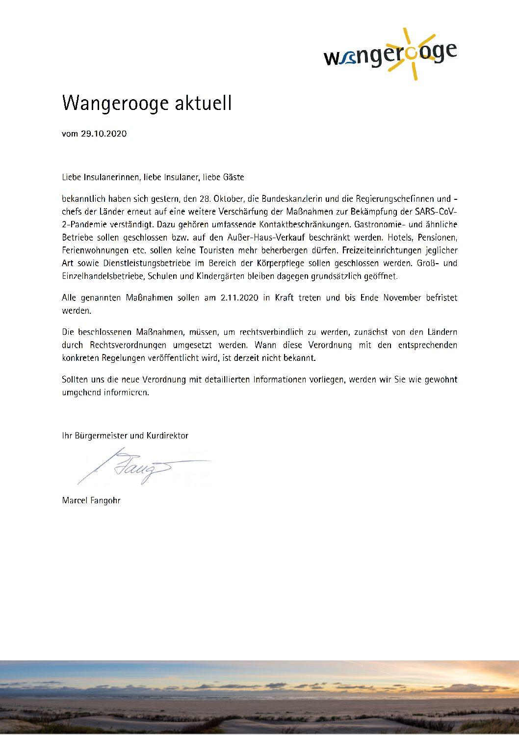 Wangerooge Aktuell der Kurverwaltung vom 29.10.2020 zur weiteren Verschärfung der Maßnahmen gegen Corona