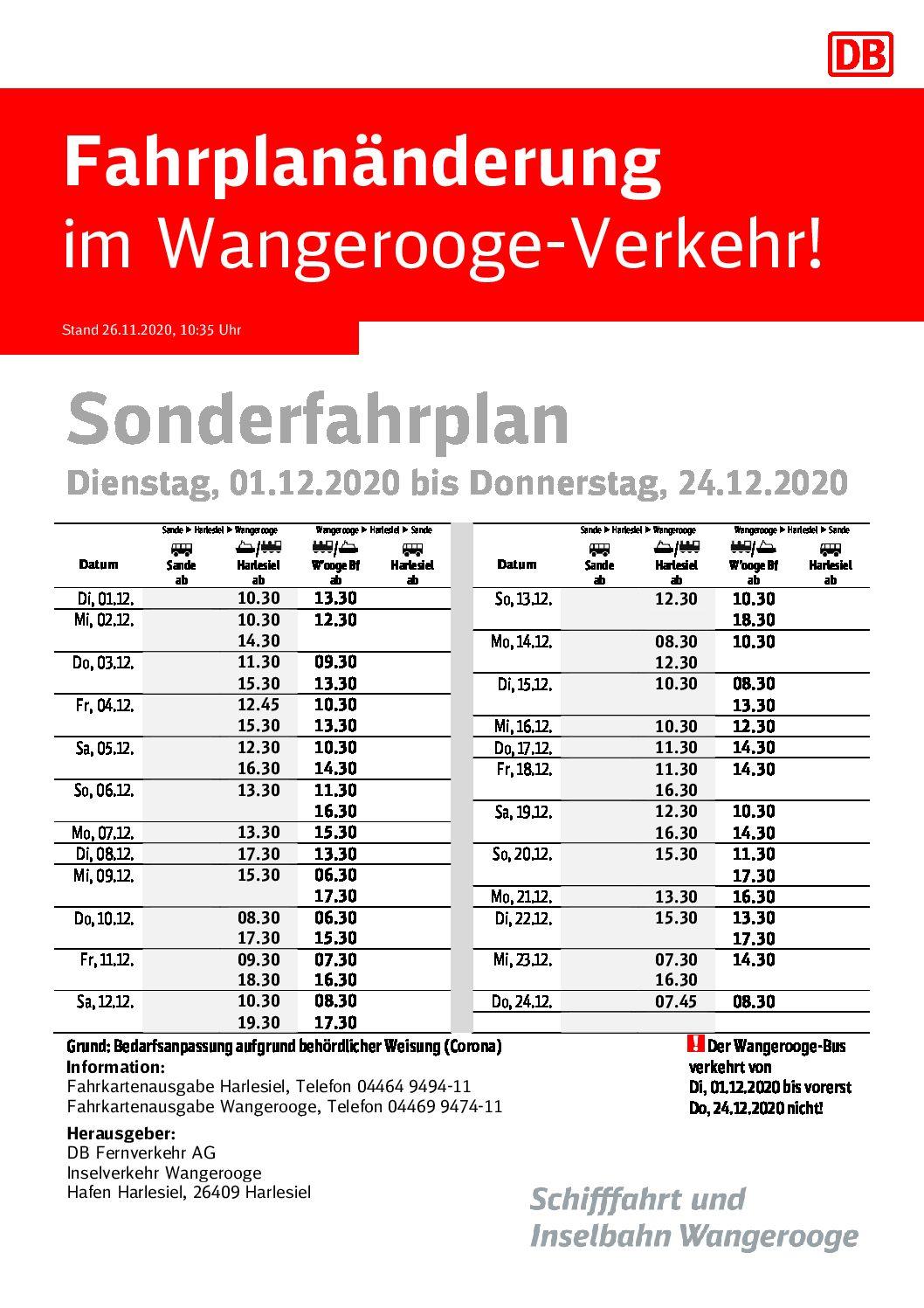 DB/SIW Sonderfahrplan Dienstag, 01.12.2020 bis Donnerstag, 24.12.2020