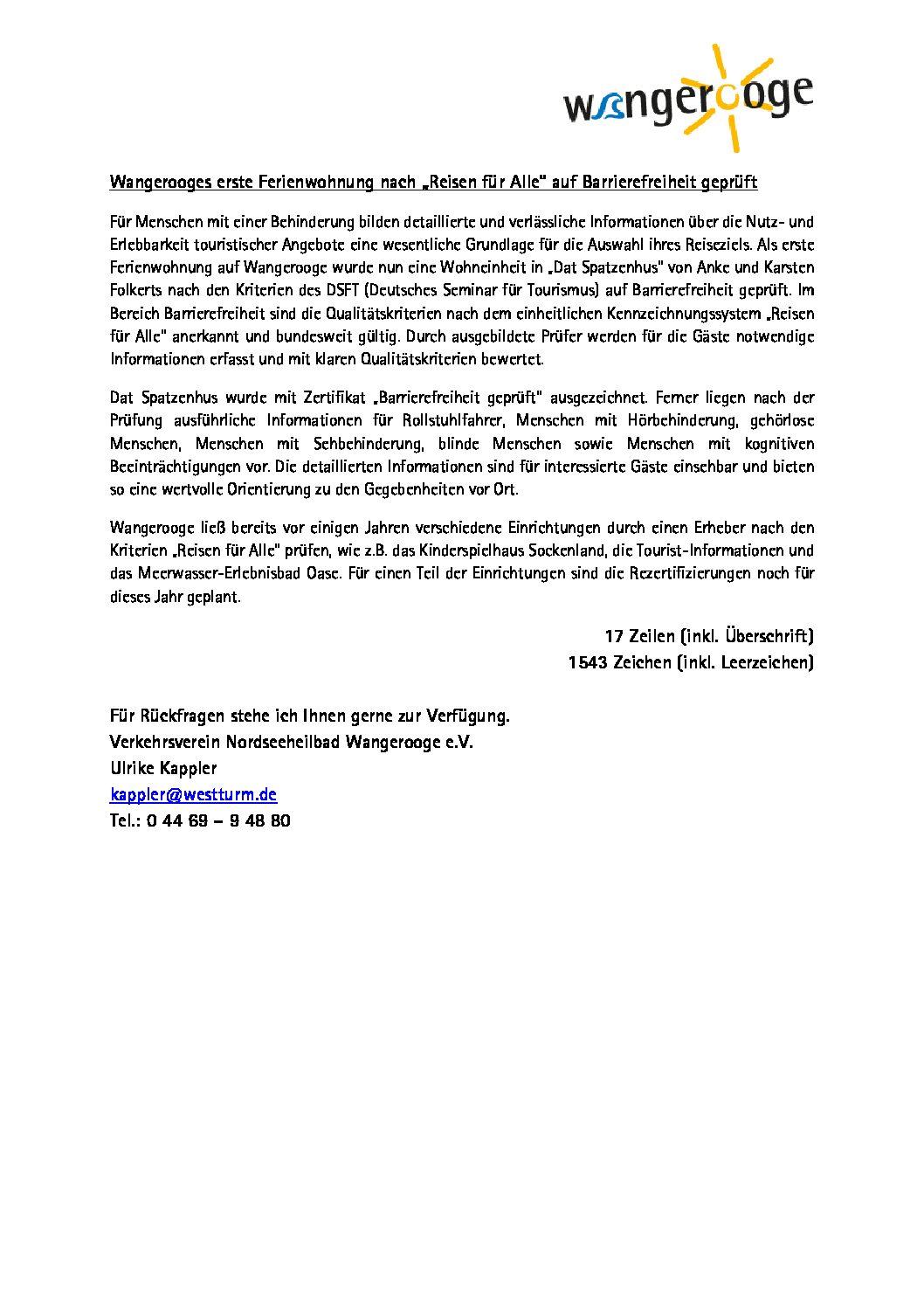 """Wangerooges erste Ferienwohnung nach """"Reisen für Alle"""" auf Barrierefreiheit geprüft"""