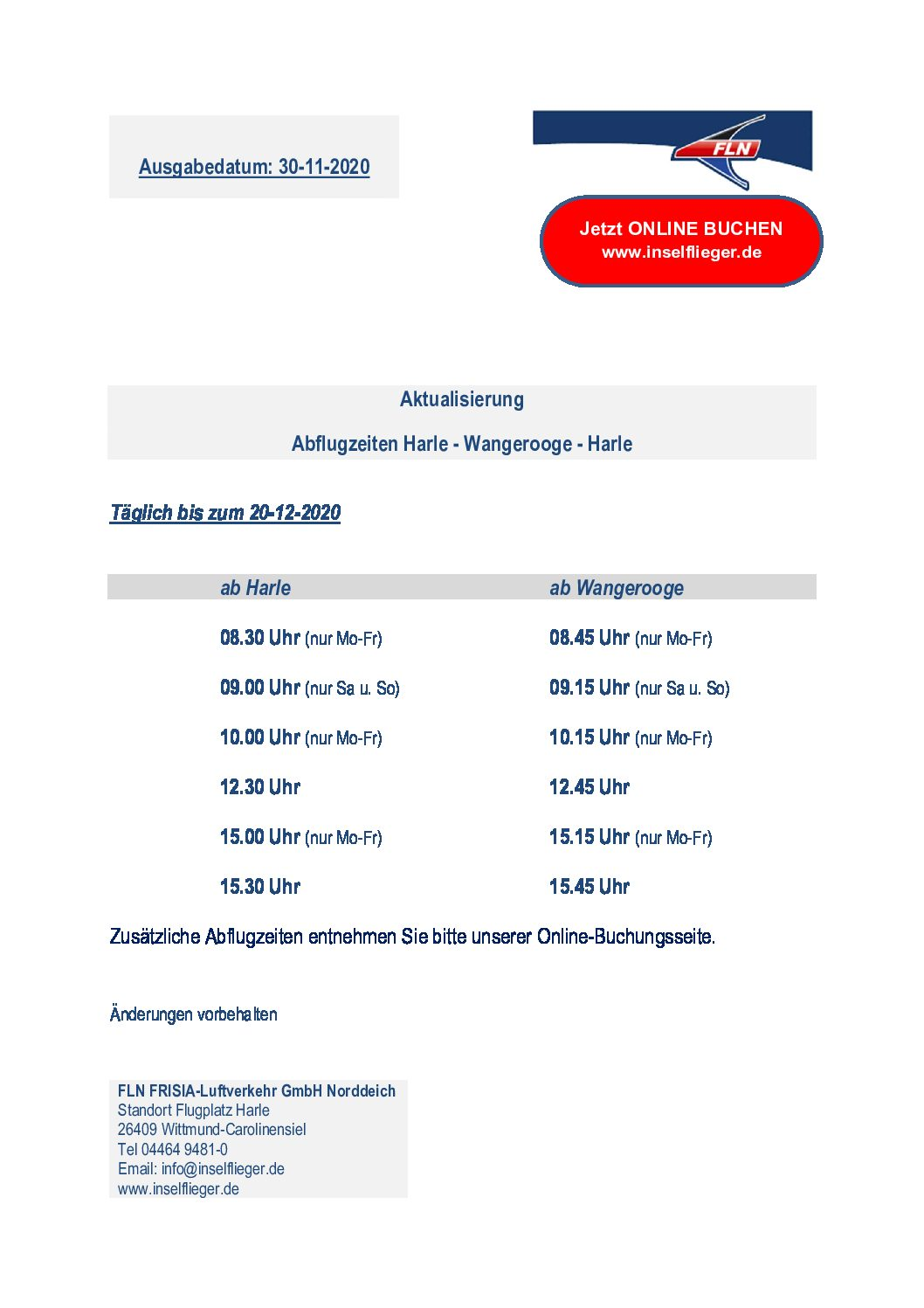 Dezemberflugplan von FLN-Die Inselflieger bis 20.12.2020