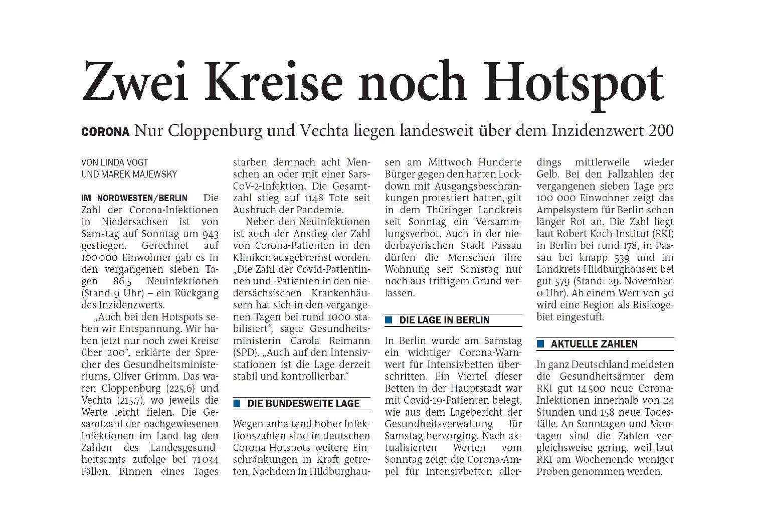Jeversches Wochenblatt 30.11.2020 IV