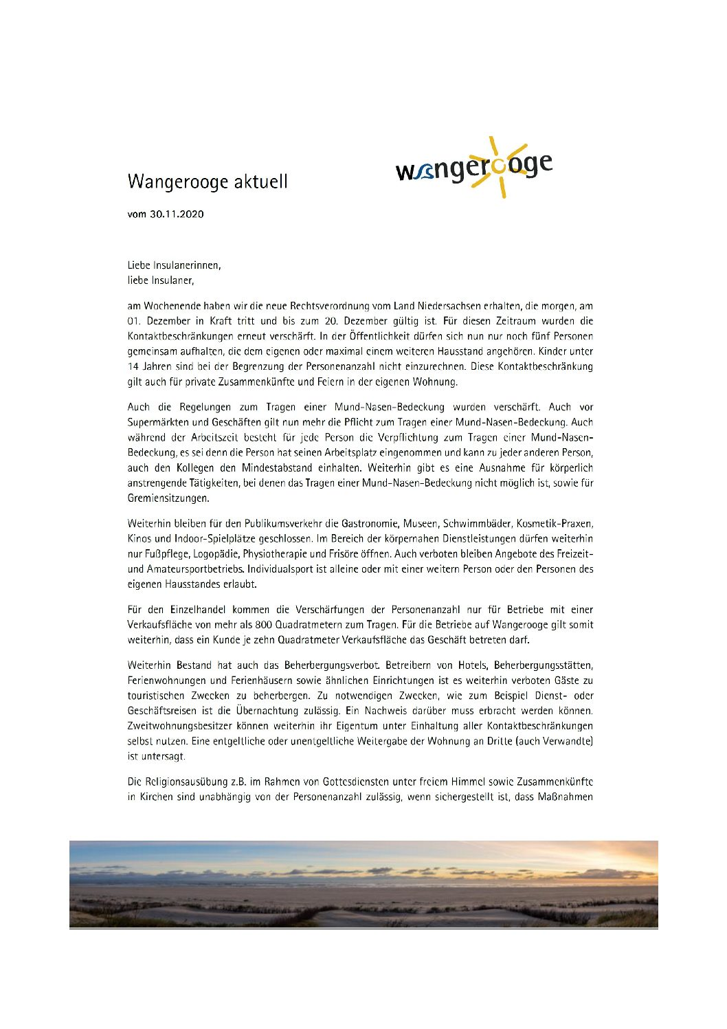 Wangerooge Aktuell der Kurverwaltung 30.11.2020 zur neuen Rechtsverordnung vom Land Niedersachsen