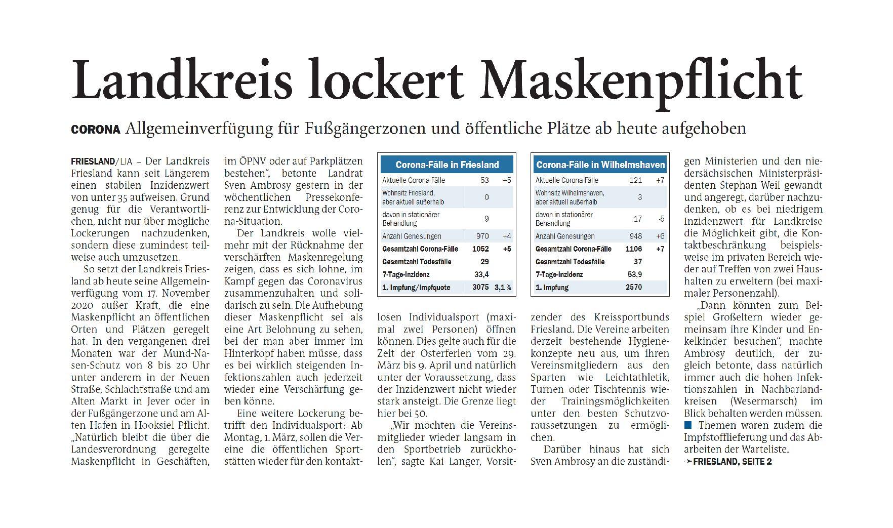 Jeversches Wochenblatt 20.02.2021