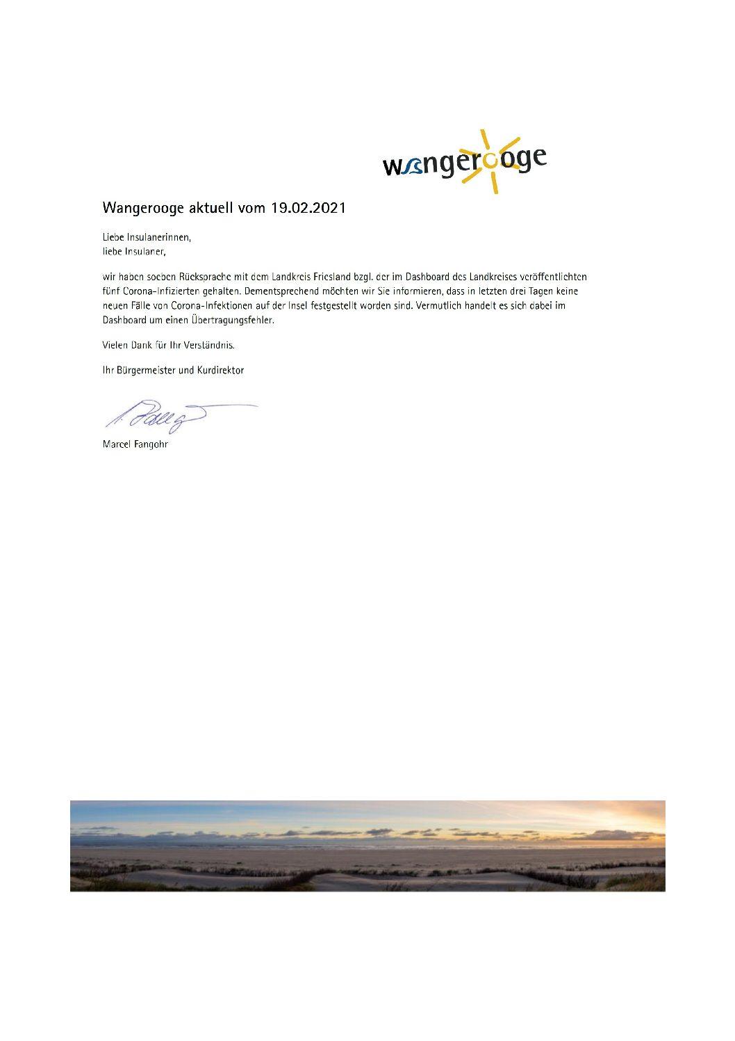 Wangerooge Aktuell der Kurverwaltung vom 19.02.2021 Coid19 Meldung war Übertragungsfehler