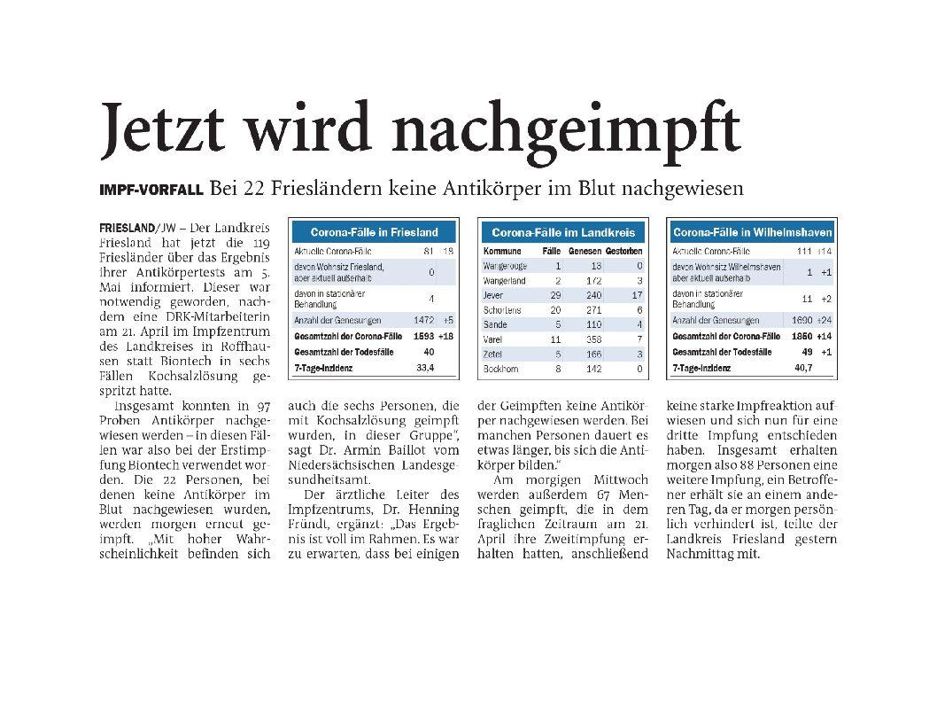 Jeversches Wochenblatt 11.05.2021