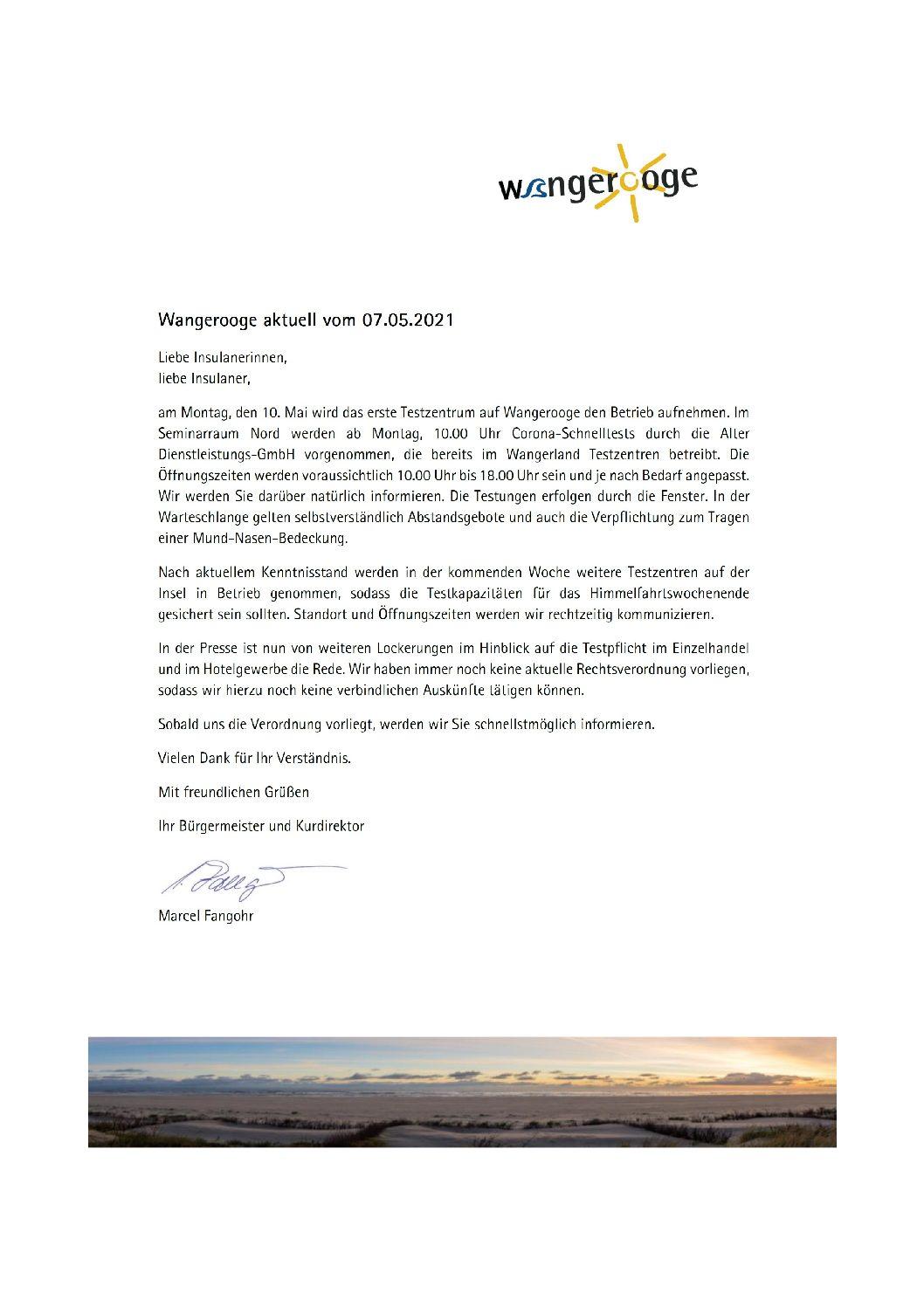 07.05.2021 Wangerooge Aktuell der Kurverwaltung – Testzentrum auf Wangerooge – Lockerungen