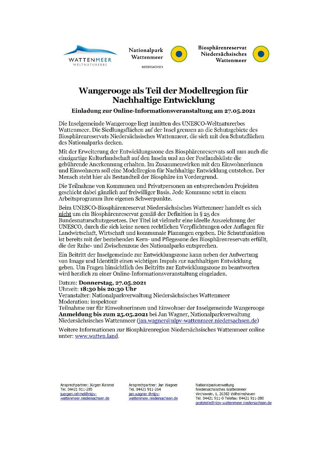 12.05.2021 Wangerooge als Teil der Modellregion für Nachhaltige Entwicklung  Einladung zur Online-Informationsveranstaltung am 27.05.2021