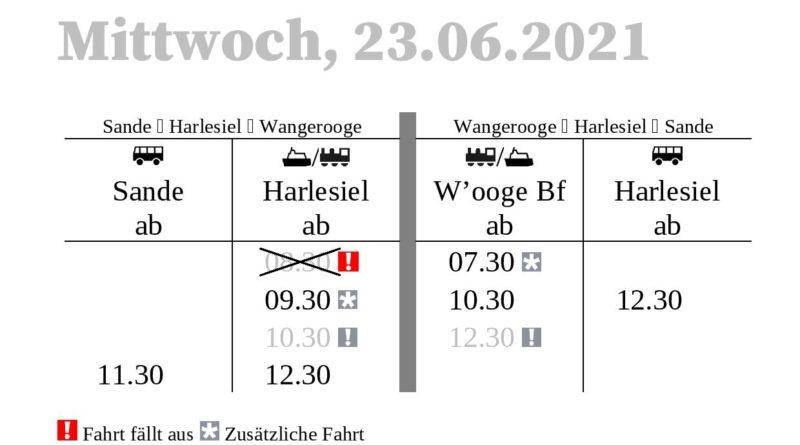 DB/SIW Fahrplanänderungen am 22.+23.+24. Juni 2021 wegen Schiffsausfall