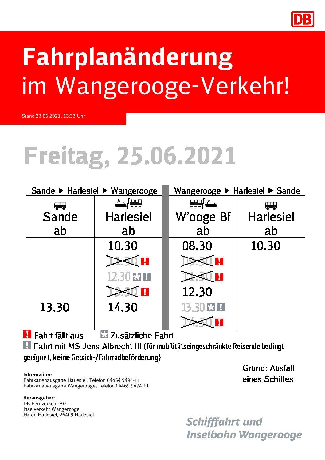 DB/SIW Fahrplanänderung wegen Schiffsausfall 25.06.-01.07.2021