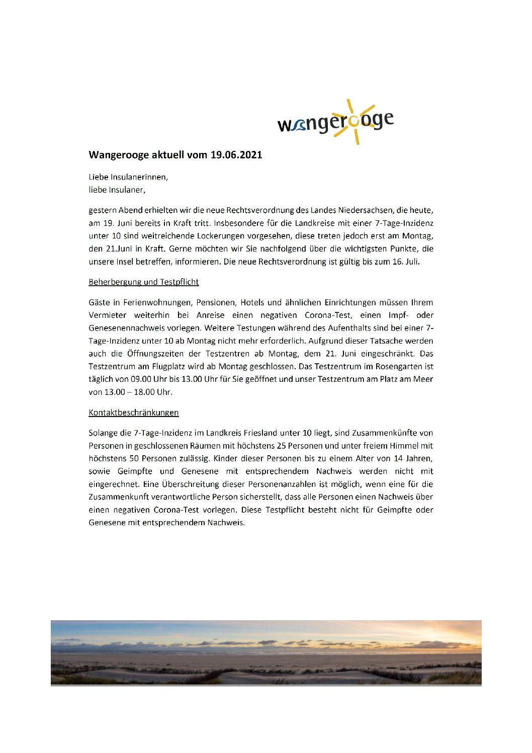 19.06.2021 Wangerooge Aktuell der Kurverwaltung: Neue Rechtsverordnung des Landes Niedersachsen, die heute, am 19. Juni bereits in Kraft tritt