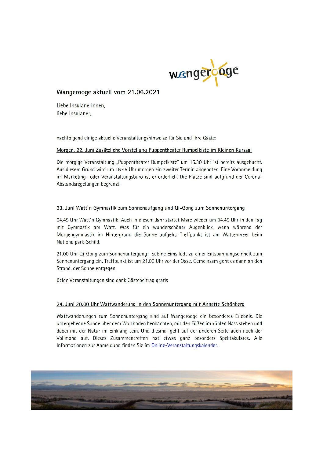 21.06.2021 Wangerooge Aktuell der Kurverwaltung einige aktuelle Veranstaltungshinweise