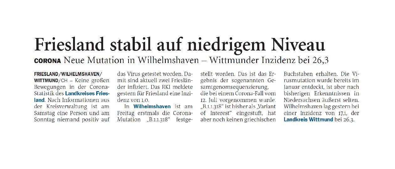 Jeversches Wochenblatt 26.07.2021