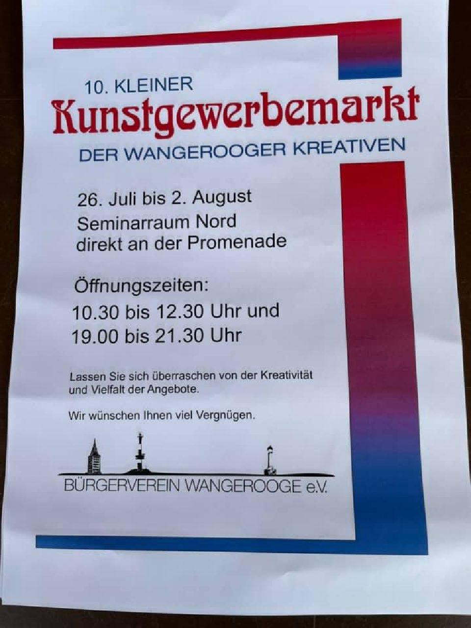 26.07.2021 10. Kleiner Kunstgewerbemarkt 26.07.-02.08.2021 Seminarraum Nord