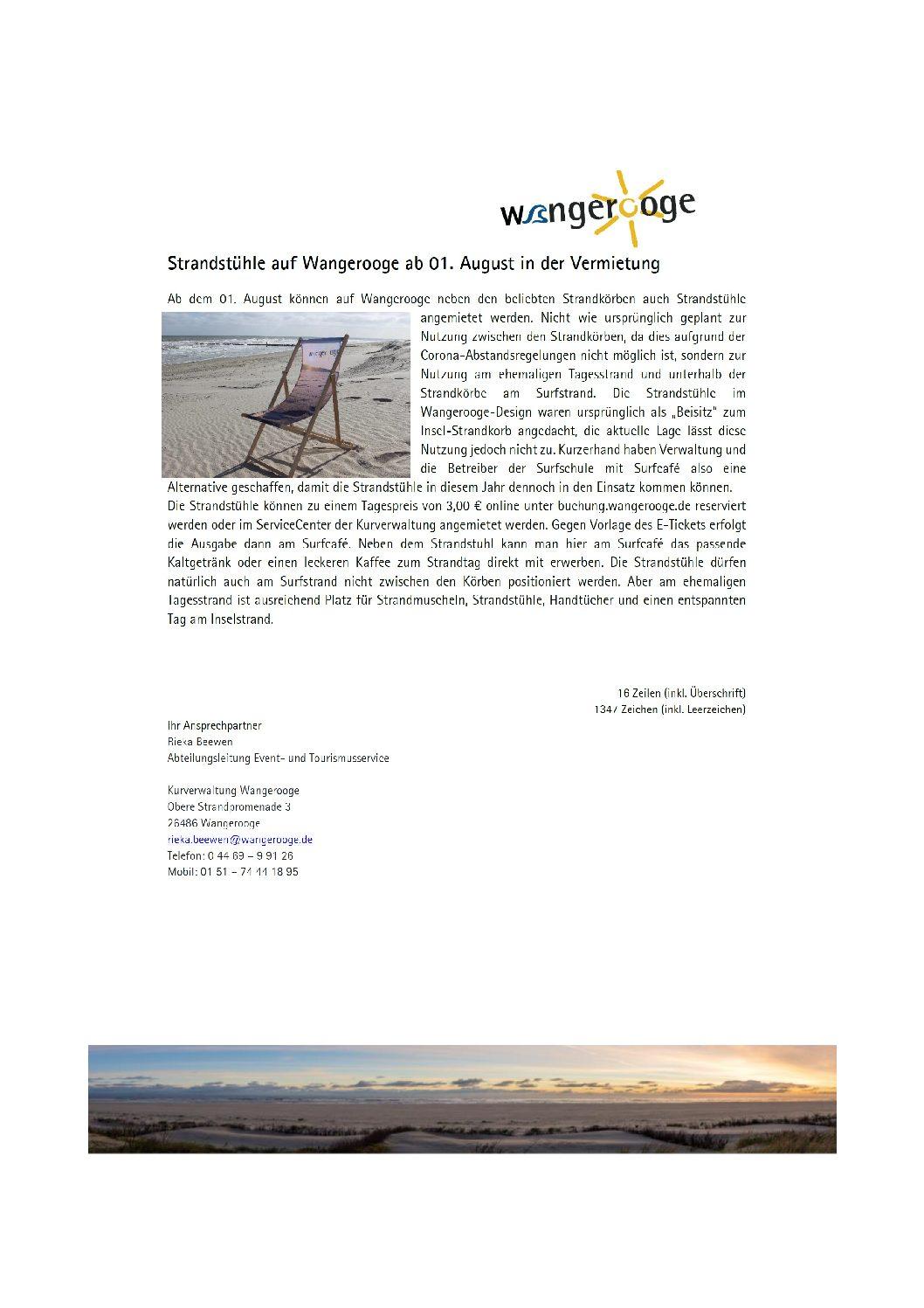 23.07.2021 Strandstühle auf Wangerooge ab 01.08.2021 in der Vermietung