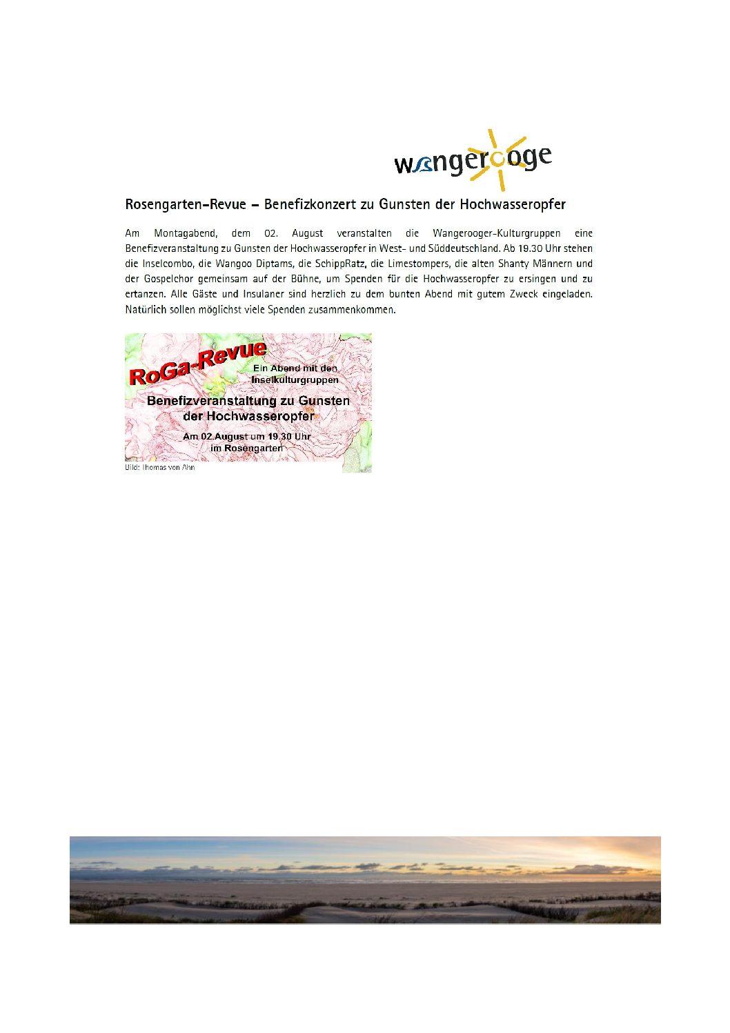 23.07.2021 Montag 02.08.2021 Wangerooge-Revue – Benefizkonzert zu Gunsten der Hochwasseropfer