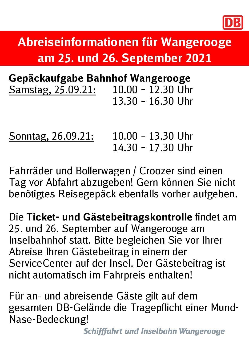 24.09.2021 DB/SIW Abreiseinformationen für Wangerooge am 25. und 26. September 2021