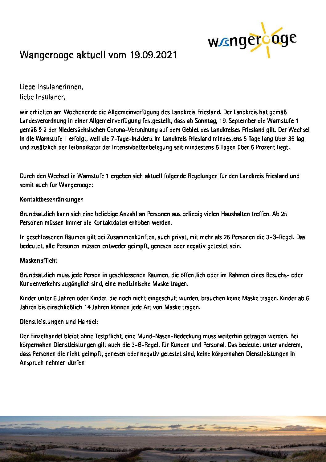 19.09.2021 Wangerooge Aktuell der Kurverwaltung – Allgemeinverfügung des Landkreis Friesland