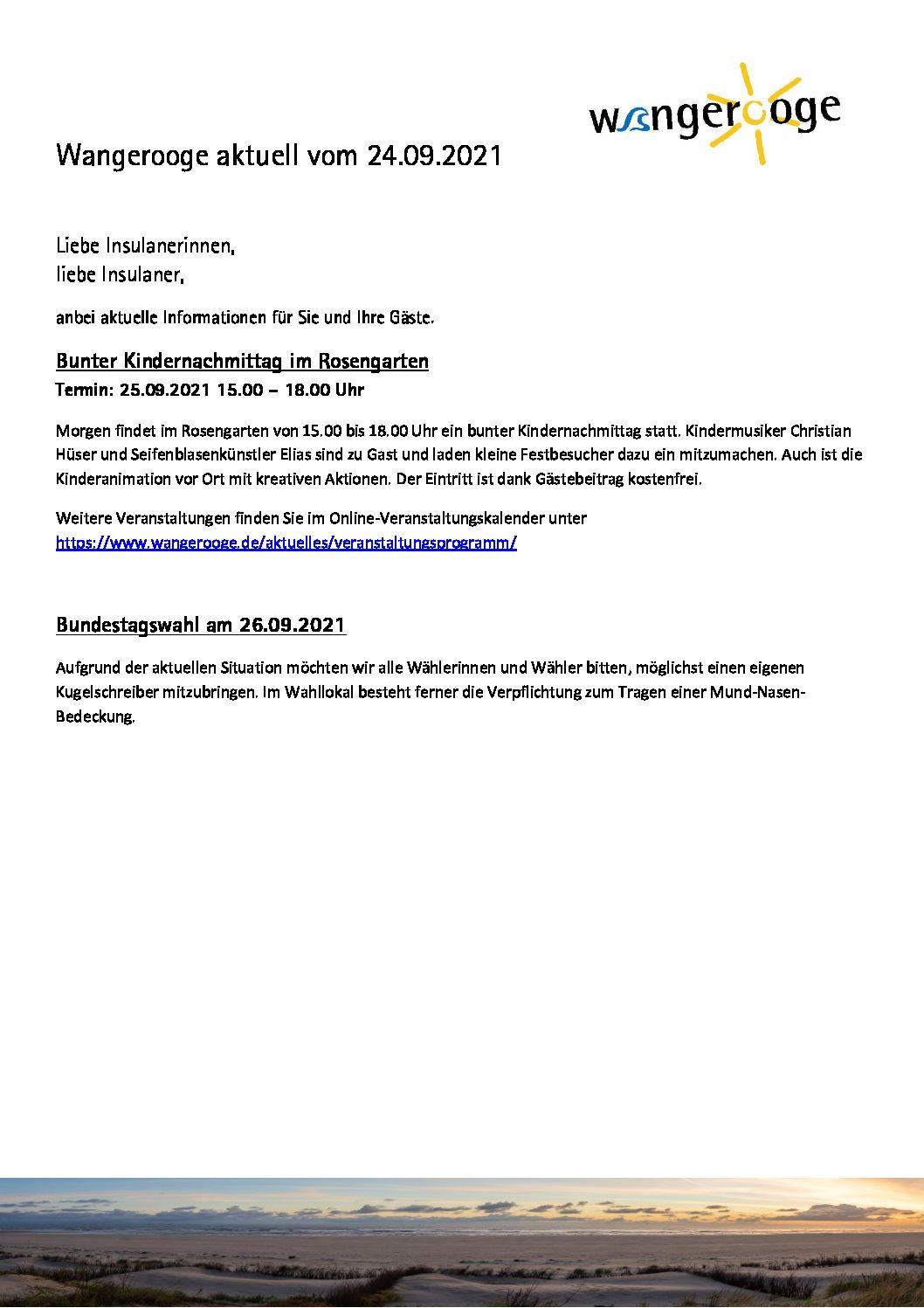 24.09.2021 Wangerooge Aktuell der Kurverwaltung