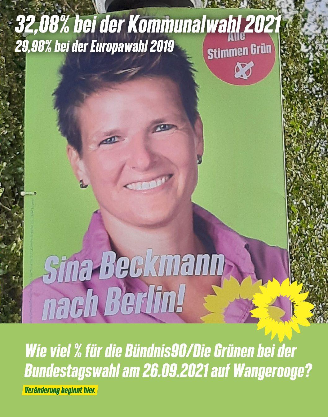 19.09.2021 Die Grünen Wangerooger – Sina Beckmann Bündnis90/Die Grünen in den Bundestag