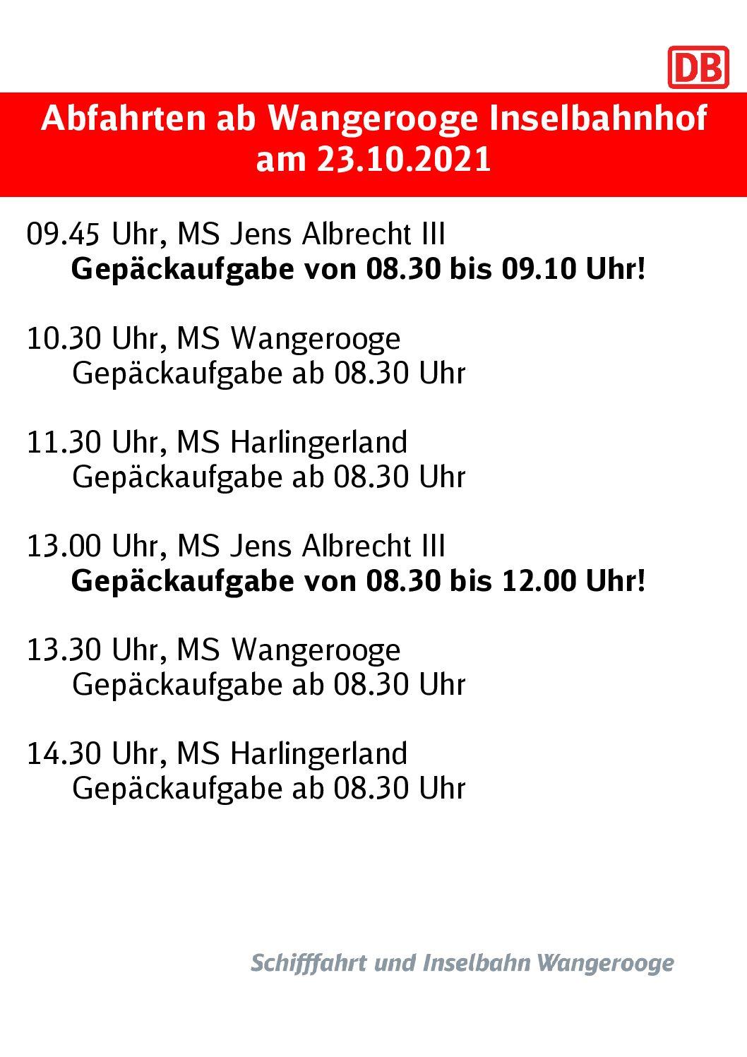 Abfahrten ab Wangerooge 23.102021