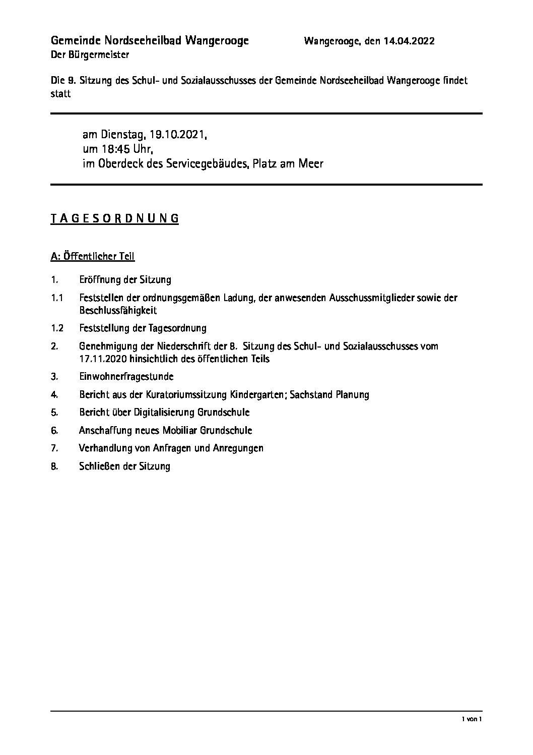 12.10.2021 Einladung Schul -und Sozialausschuss  Di.10.10.2021, 18.45 Uhr Oberdeck