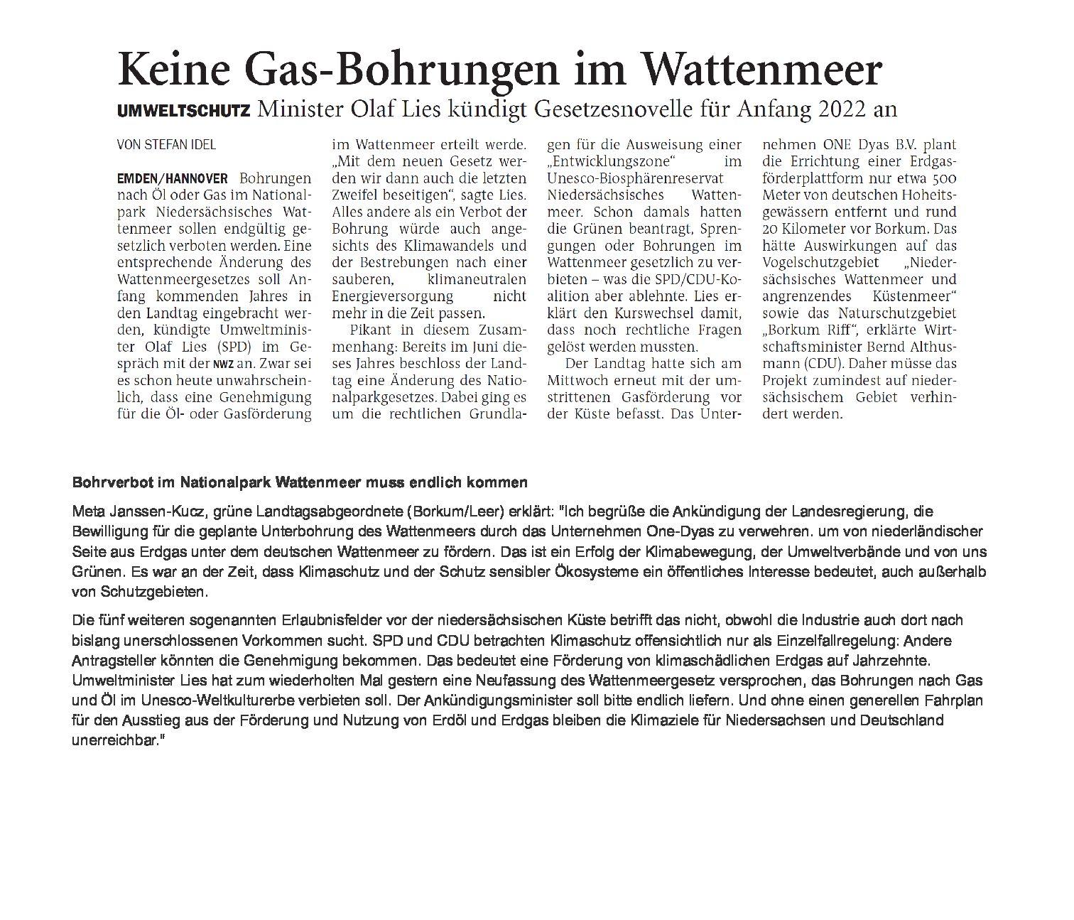 Jeversches Wochenblatt 15.10.2021 mit Kommentar von Meta Janssen-Kuzs (MdL/Bündnis90/Die Grünen)