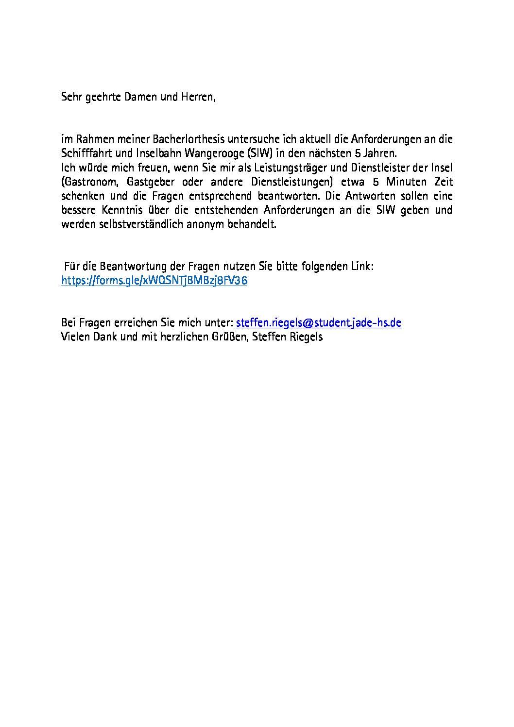 Umfrage Bachelorthesis DB/SIW von Stefen Riegels