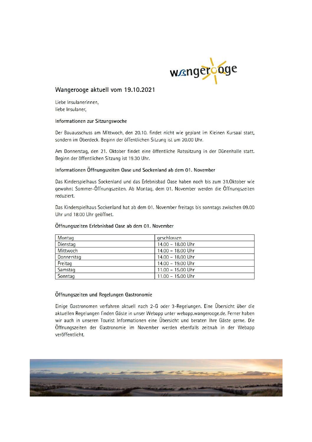 19.10.2021 Wangerooge Aktuell der Kurverwaltung